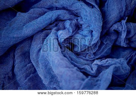 Textured, twisted into a flower gauze. Blue Close
