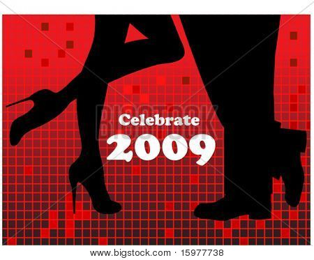 celebrate 2009 woman and man at night club (use with or without text)