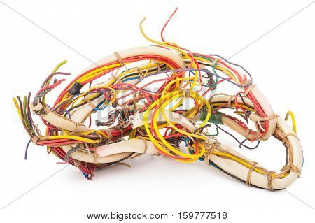 wires on a white background