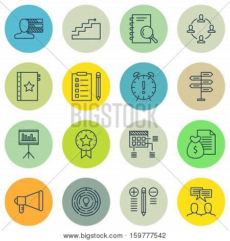Set Of 16 Project Management Icons. Can Be Used For Web, Mobile, UI And Infographic Design. Includes Elements Such As Announcement, Date, List And More.