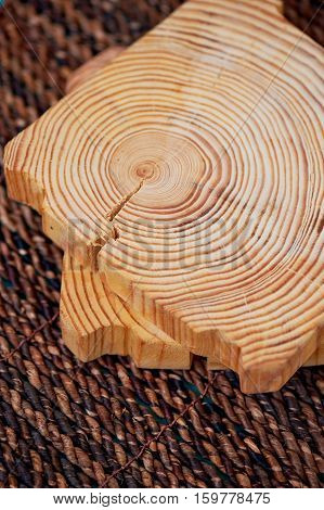 Saw cut wood, annual rings. Close details. A feeling of comfort