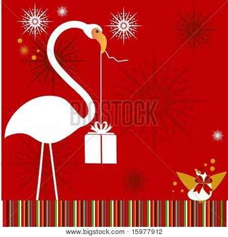 Flamingo com pássaros e presentes flocos de neve de flor por trás