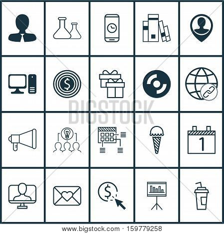 Set Of 20 Universal Editable Icons. Can Be Used For Web, Mobile And App Design. Includes Elements Such As Announcement, Call Duration, Business Goal And More.