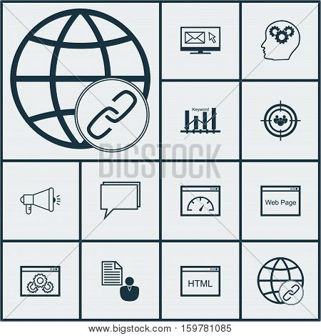 Set Of 12 Marketing Icons. Can Be Used For Web, Mobile, UI And Infographic Design. Includes Elements Such As Target, Website, Brief And More.