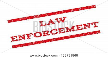 Law Enforcement watermark stamp. Text tag between parallel lines with grunge design style. Rubber seal stamp with dirty texture. Vector red color ink imprint on a white background.