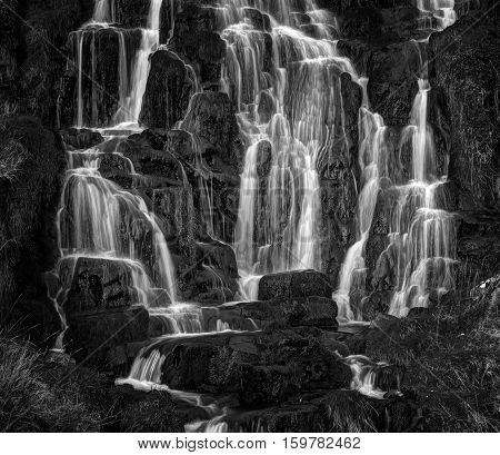 Waterfall below Old Man of Storr near Portree Isle of Skye Highland Scotland United Kingdom Europe