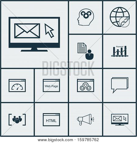 Set Of 12 Advertising Icons. Can Be Used For Web, Mobile, UI And Infographic Design. Includes Elements Such As Ranking, Optimization, Online And More.