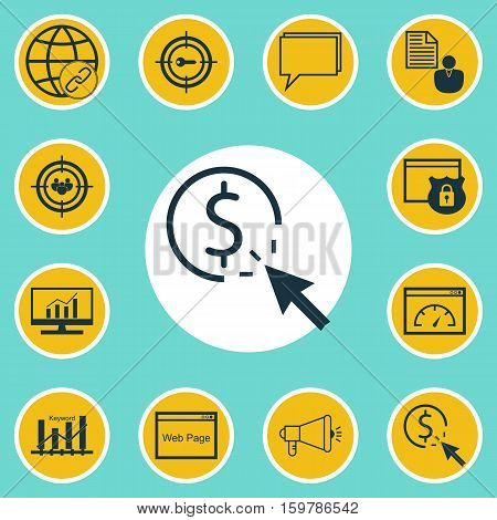 Set Of 12 Marketing Icons. Can Be Used For Web, Mobile, UI And Infographic Design. Includes Elements Such As Brief, Browser, Marketing And More.