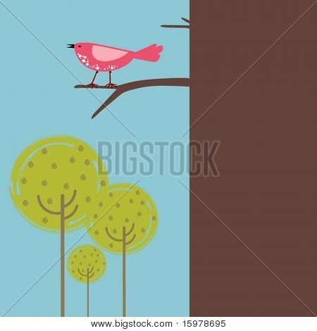bird in tree with copy space
