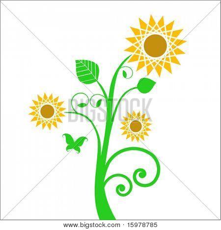 Sonnenblume mit Schmetterling