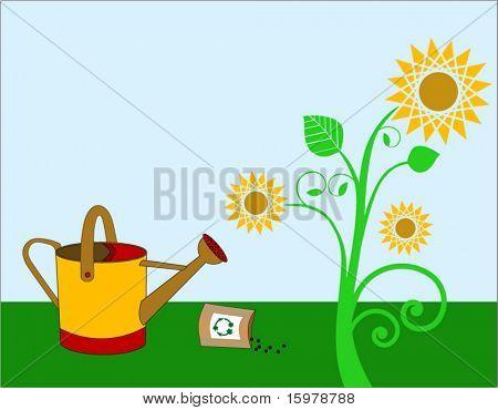 Sonnenblume mit Gießkanne und Pack Samen