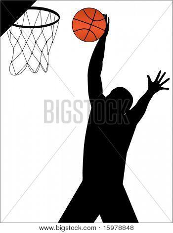 basketball player making basket