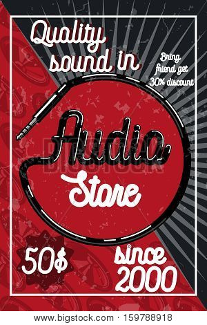 Vintage audio store poster. Music studio, radio and shop labels with sample text. Music icons for audio store, recording studio label, podcast and radio station, branding and identity.