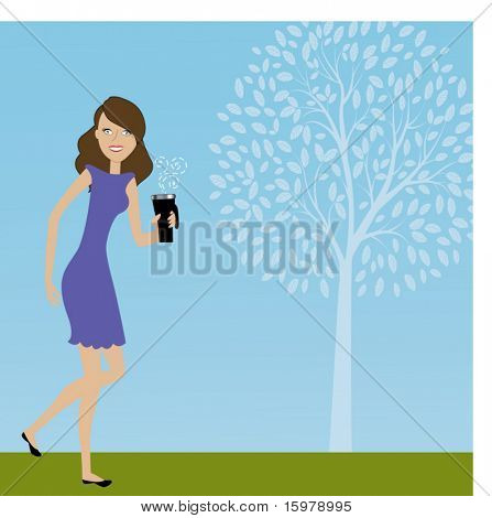 smiling girl walking with coffee