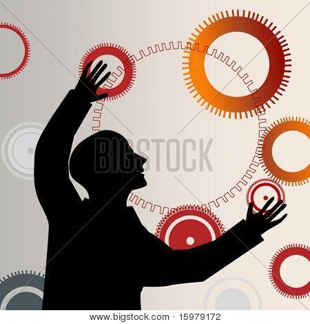 man reaching juggling gears