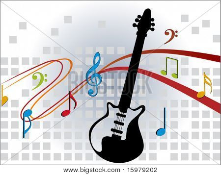 musical notes with guitar (center cut out)