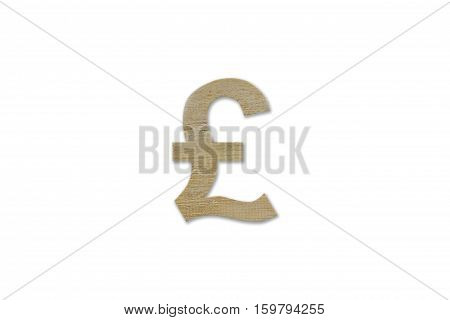 Pound Currency Symbol Made From Wood Isolated On White Background