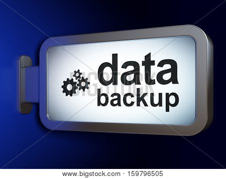 Information concept: Data Backup and Gears on advertising billboard background, 3D rendering