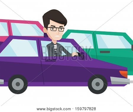 Angry caucasian man in car stuck in a traffic jam. Irritated man driving a car in a traffic jam. Agressive driver honking in traffic jam. Vector flat design illustration isolated on white background.