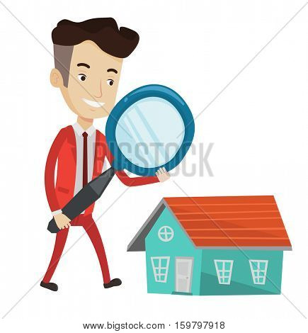 Caucasian businessman using a magnifying glass for looking for a new house. Happy businessman analyzing house with a magnifying glass. Vector flat design illustration isolated on white background.