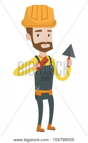Young confident bricklayer in uniform and hard hat. Caucasian hipster bicklayer with the beard working with a spatula and a brick. Vector flat design illustration isolated on white background.
