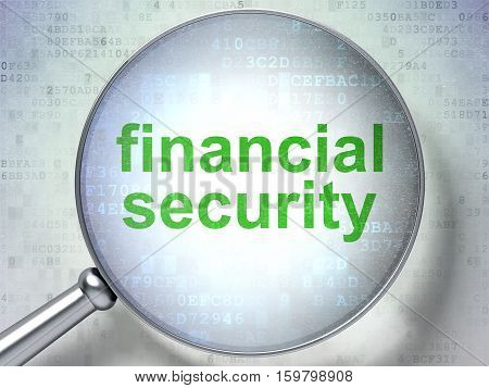 Security concept: magnifying optical glass with words Financial Security on digital background, 3D rendering