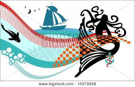 mermaid with ship fish anchor waves and seamless patterns