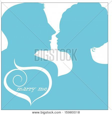 The proposal - man proposing to woman silhouette - release clip mask to reveal full heads