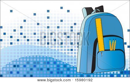 schoolbag with pencils and ruler