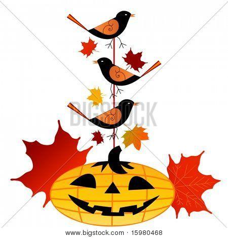 Pumpkin with birds on pole