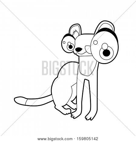 Coloring book page. Funny cartoon comic cool nice animals. Weasel