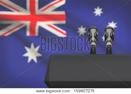 Pulpit And Two Microphones With A National Flag On Background - Australia