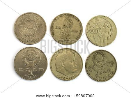 Old Soviet Union expired money with Lenin's profile. USSR ruble coins isolated on white background