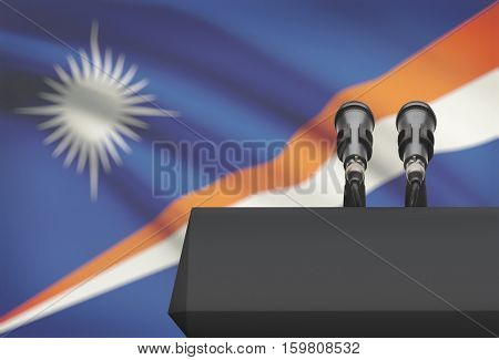 Pulpit And Two Microphones With A National Flag On Background - Marshall Islands