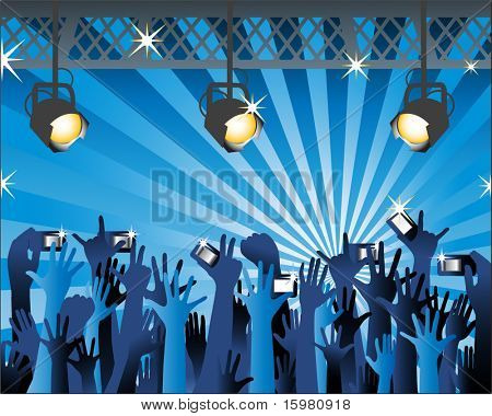 concert stage light cameras hands