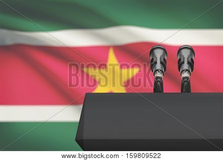 Pulpit And Two Microphones With A National Flag On Background - Suriname
