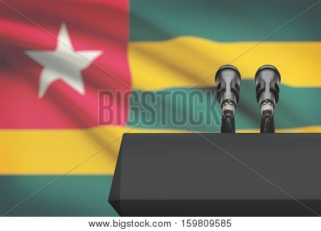 Pulpit And Two Microphones With A National Flag On Background - Togo