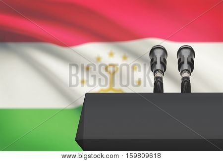 Pulpit And Two Microphones With A National Flag On Background - Tajikistan