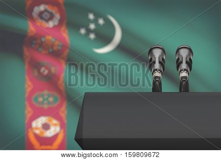 Pulpit And Two Microphones With A National Flag On Background - Turkmenistan