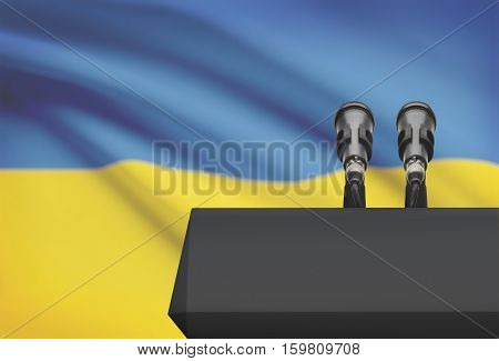 Pulpit And Two Microphones With A National Flag On Background - Ukraine