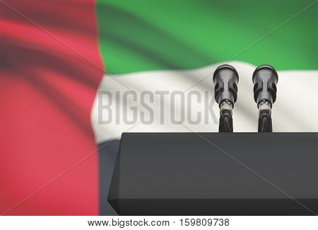 Pulpit And Two Microphones With A National Flag On Background - United Arab Emirates