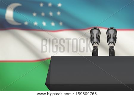 Pulpit And Two Microphones With A National Flag On Background - Uzbekistan