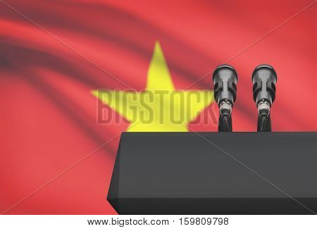 Pulpit And Two Microphones With A National Flag On Background - Vietnam
