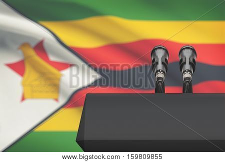 Pulpit And Two Microphones With A National Flag On Background - Zimbabwe