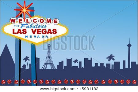Las Vegas Welcome sign with strip behind (layered for easy changes)