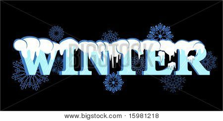 word winter capped with snow (ice lines on the text) snowflakes behind