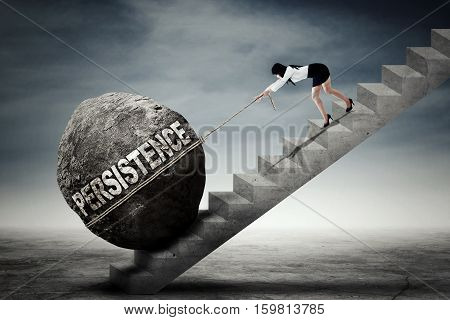 Young Asian businesswoman pulling a big stone with persistence text while climbing up a ladder