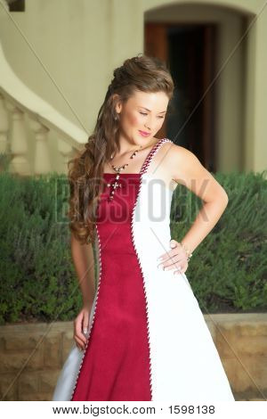 Beautiful Smiling Bride In Red And White Dress