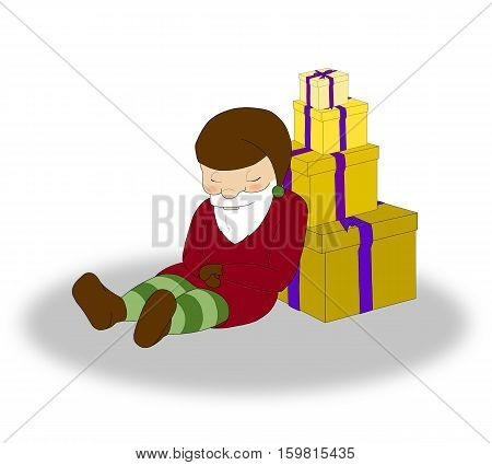 illustration of Christmas sleeping elf with a lot of yellow gift boxes