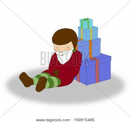 illustration of Christmas sleeping elf with a lot of blue gift boxes